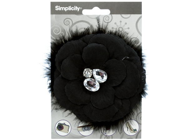 simplicity black flower w/feathers/gems accent