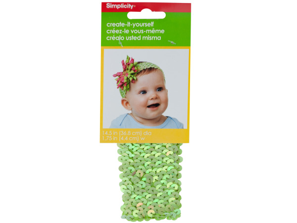 Simplicity 14.5 Inch Lime Green Sequin Stretch Headband