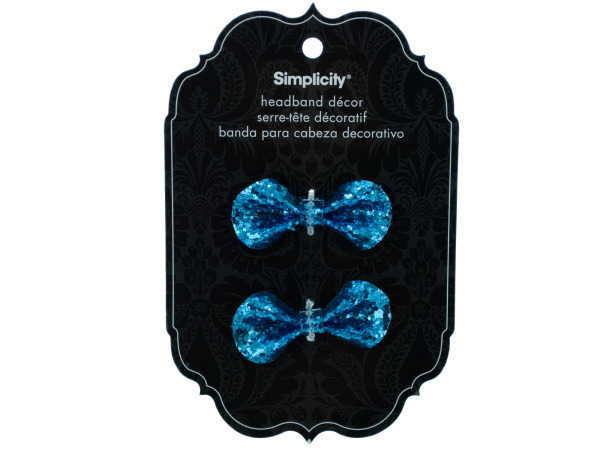 simplicity 2 piece turquoise sequin bows headband accent