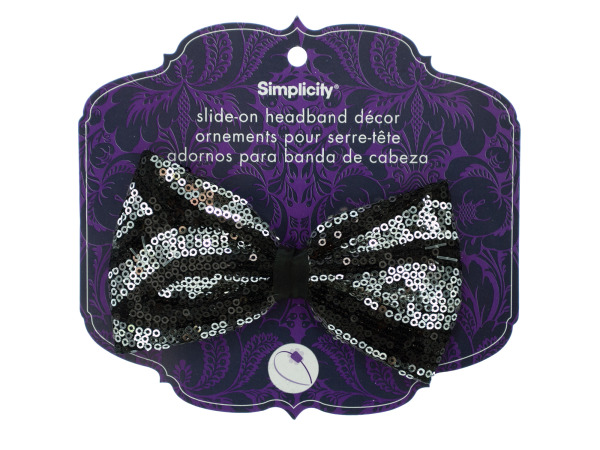 simplicity black/silver sequin bow headband accent