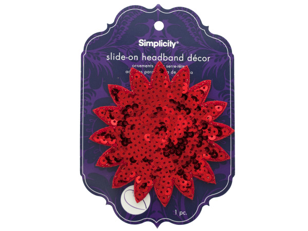 simplicity red sequin starburst slide on headband accent