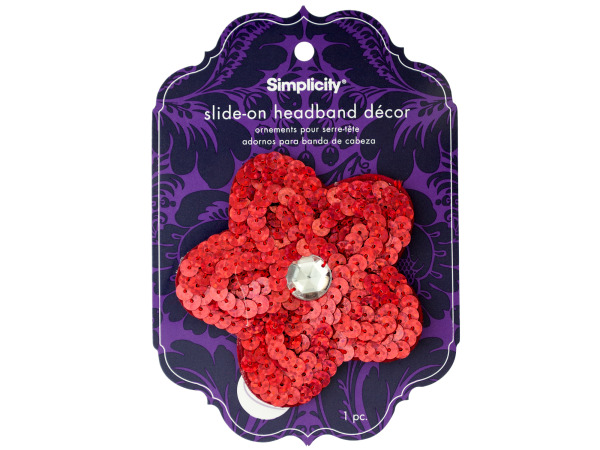 simplicty red sequin flower with gem slide on headband accnt