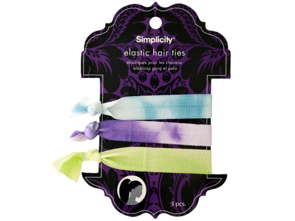 simplicity 3 pack elastic hair ties purple/blue/green