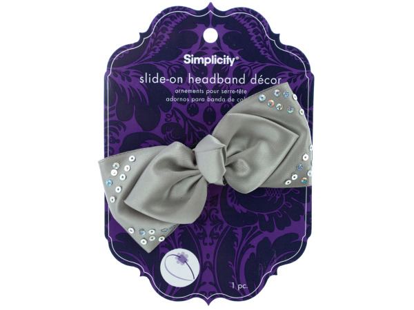 simplicity grey satin bow w/sequins slide on headband accent