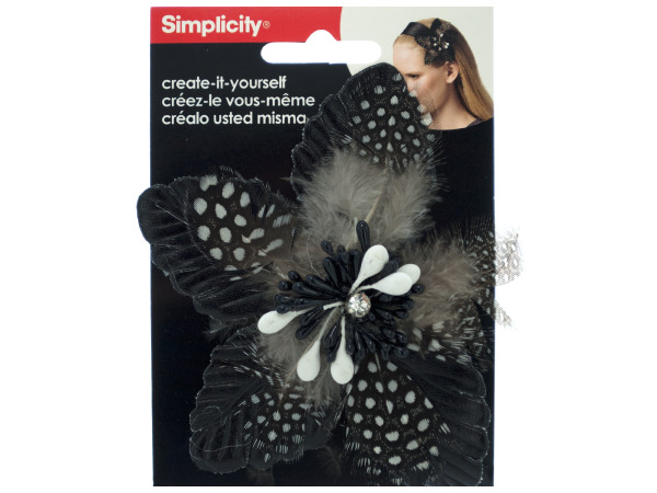 simplicity black feather flower headband accent