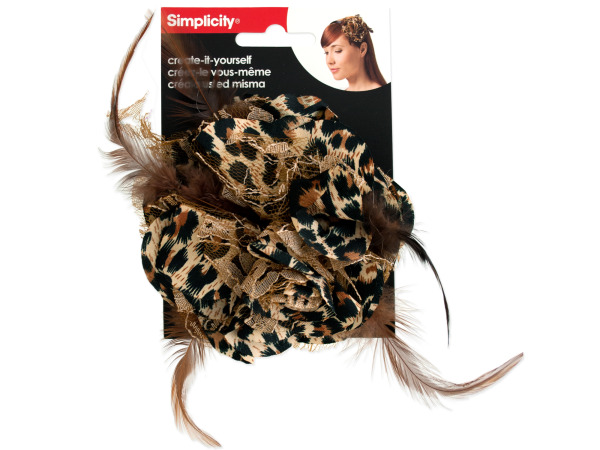 simplicity fabric leopard flower w/feathers/lace accent