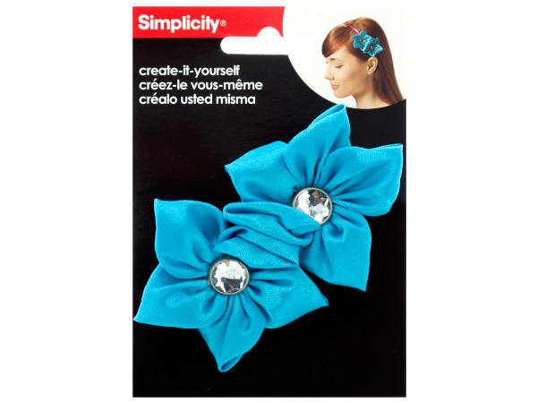 simplicity 2 pack turquoise satin flower/gem headband accent