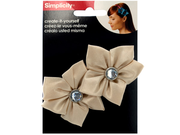 simplicity 2 pack champagne satin flower/gem headband accent