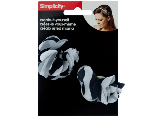 simplicity 2 pc zebra flower headband accents