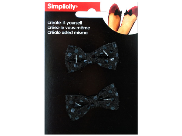 simplicity 2 pack small black sequin bows accents