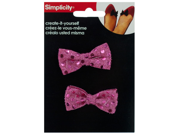simplicity 2 piece pink sequin bows accent