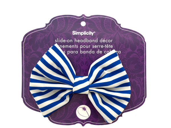 simplicity blue/white striped bow slide on headband accent