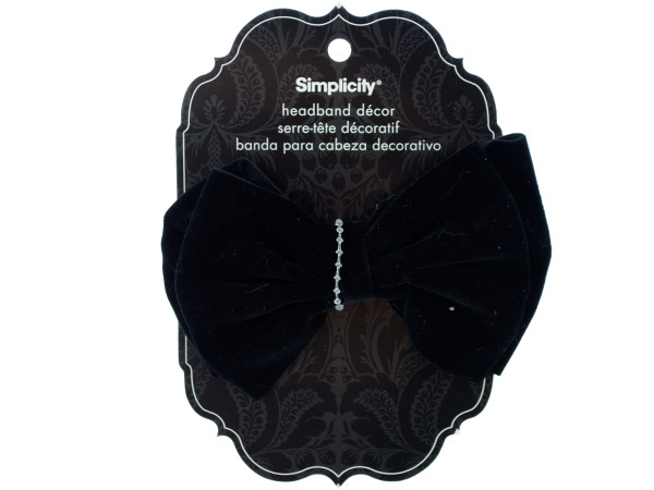 simplicity black velvet bow headband decor