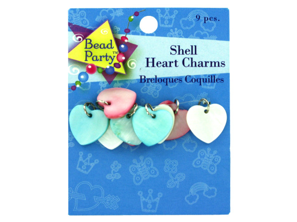 Heart shell charms, pack of 9