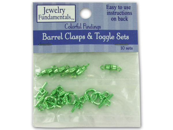 Green barrel clasps and toggles