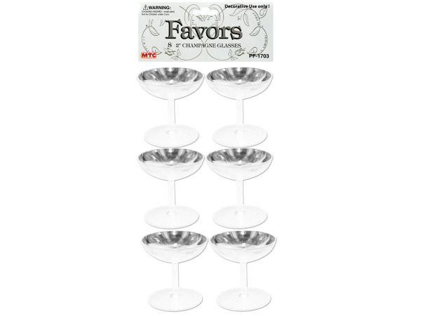 8 pack 2 inch clear champagne glasses